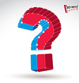 3d mesh stylish red and blue web question mark vector image