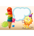 A happy monster near the colorful giant icecream vector image vector image