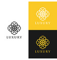 abstract logo with flower ornament luxury vector image