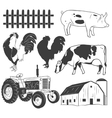 Agricultural objects set isolated on white vector image vector image