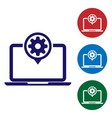 blue laptop and gear icon isolated on white vector image vector image