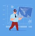 business man wear virtual reality digital glasses vector image