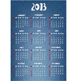 Calendar with denim print vector image vector image