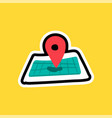 cartoon sticker with map and pointer vector image vector image