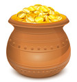 Ceramic pot with gold coins vector image vector image