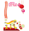 Chinese New Year Frame with Dragon Dancing vector image vector image