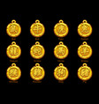 chinese zodiac signs hieroglyphs on gold medallion vector image vector image