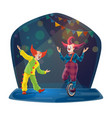 circus clown characters on chapiteau big top arena vector image vector image