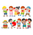 collection happy kids with fresh apple vector image