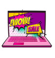 comic book laptop wow sale discount pop art vector image