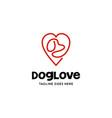 dog love logo vector image vector image