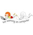 doodle girl working on computer vector image