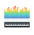 equalizer and piano keyboard vector image vector image
