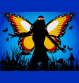 fairy queen silhouette with butterfly wings vector image vector image