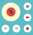 flat icons qr shopping percentage and other vector image vector image