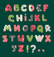 forest summer alphabet decorated with branches vector image vector image