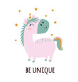 funny pink unicorn isolated on white background vector image
