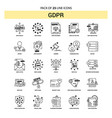 gdpr line icon set - 25 dashed outline style vector image