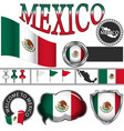 glossy icons with flag of mexico vector image vector image