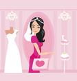 happy bride shopping vector image