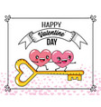 hearts couple with key to valentines day vector image vector image