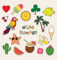 hello summer set cute stickers palms fruits vector image