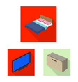 isolated object of bedroom and room sign set of vector image
