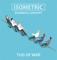 Isometric business people playing tug of war vector image