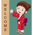 Japanese girl welcome vector image vector image