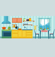 kitchen with the furniture and creative interior vector image