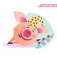 little funny cartoon style sleeping pig vector image