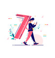 man carrying number seven as backpack vector image