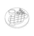 meat steak outline vector image vector image