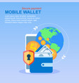 mobile phone wallet money transfer global payment vector image vector image