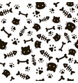 Paw seamless pattern animal footprints and bones