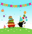 Penguin Delivering Birthday Cake vector image vector image
