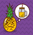pineapple kawaii fruit with speech bubble vector image