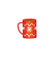 red mug - cocoa coffee tea winter holiday icon vector image