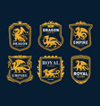 royal heraldry icons with dragons fantasy monster vector image