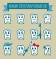 set human teeth funny characters vector image