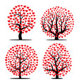set of four trees with red hearts vector image