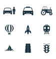 set transport icons collection in flat vector image