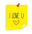 Sticky note I love you vector image