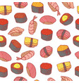sushi and rolls seamless pattern doodle cartoon vector image