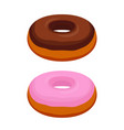 tasty donuts - chocolate pink glaze vector image vector image