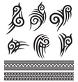 tattoo tribal icons set - design elements vector image vector image