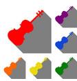 violine sign set of red orange vector image vector image