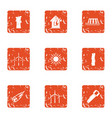 warm house icons set grunge style vector image vector image