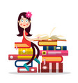 young pretty girl reading book girl cartoon vector image vector image
