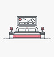 bedroom with bed vector image